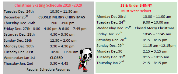 Holiday Public Skating and Shinny Schedule