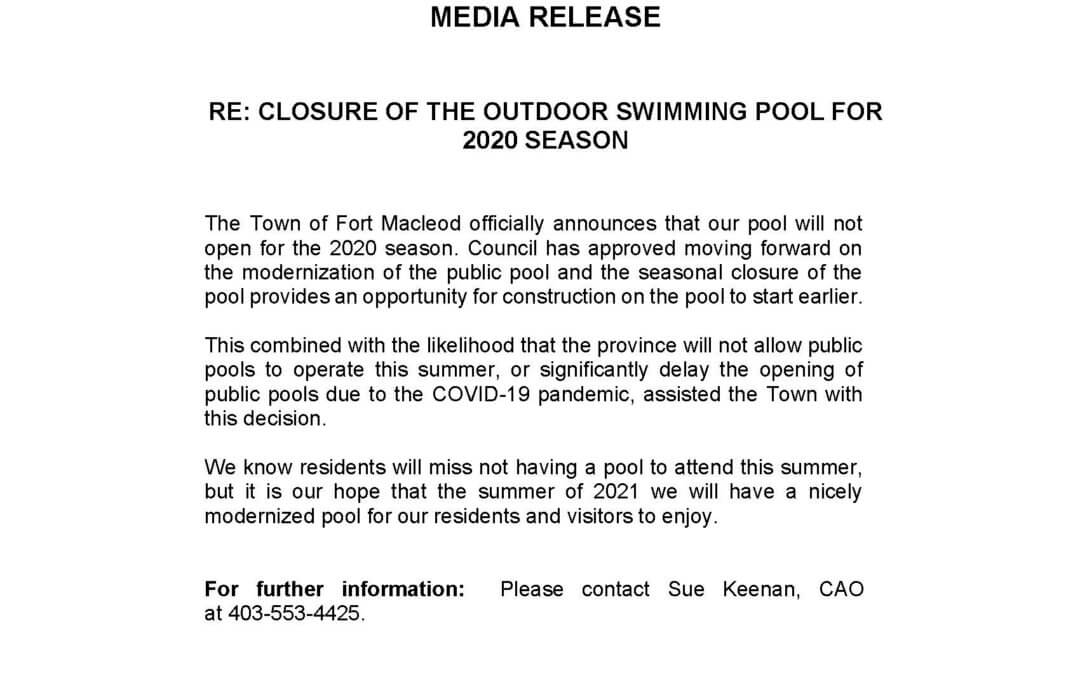 Media Release – Closure of Outdoor Swimming Pool for 2020 Season