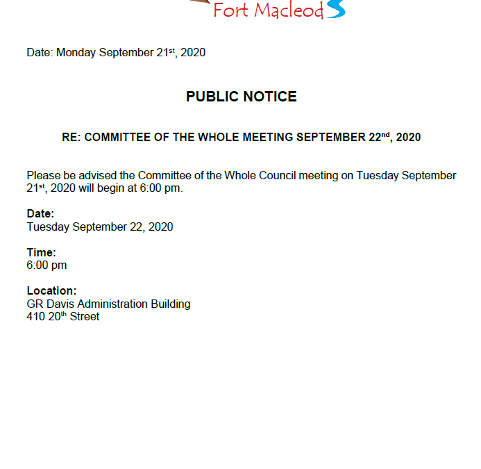 Time Change Notice for Committee of the Whole September 22, 2020