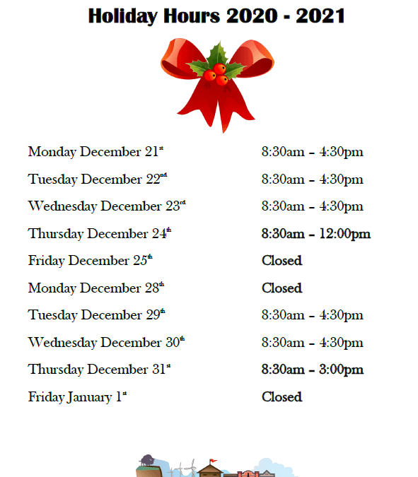Holiday Office Hours 2021