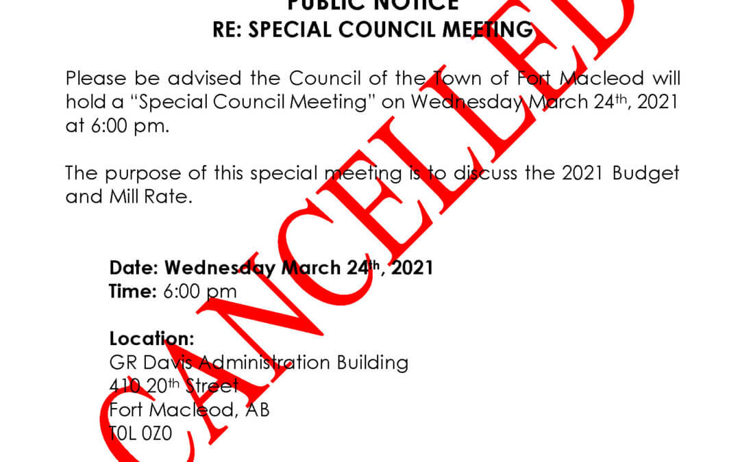 *CANCELLED* Special Council Meeting March 24, 2021