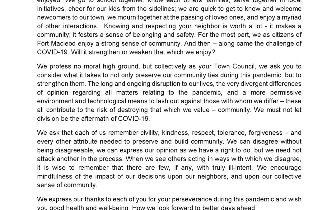 A CALL FOR CIVILITY