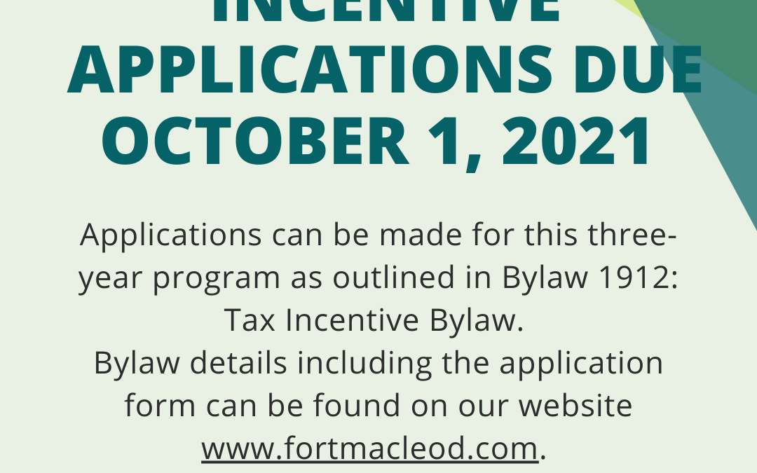 Business Tax Incentive Applications Due October 1, 2021